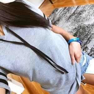 Tops - SALE* Gray hooded short sleeve top